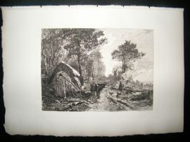 A. Masse after E. Dameron 1885 Etching. The Woodcutters